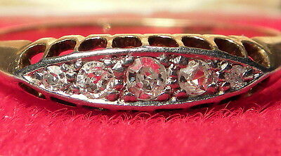 Antique Early Art Deco 18ct Gold 5 stone diamond ring & Fitted Case