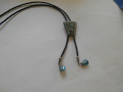 Vintage Silver Tone Bolo Tie with Turquoise Stones and Tip Ends