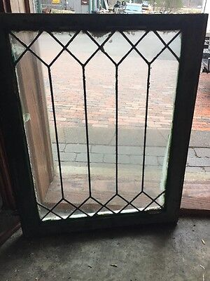 "Sg 1024 Antique Leaded Glass Geometric Window 22.25"" X 27.25"""