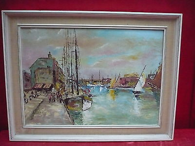 Pretty, old painting__Bustling Port __ Signed