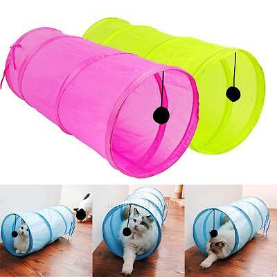 Pet Cat Kitten Rabbit Lovely Crinkly Tunnel Toy With Ball Play Funny Tunnel New