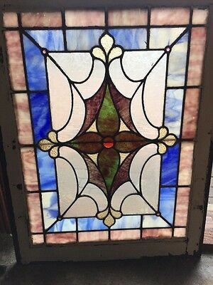 Sg 1027 Antique Stainglass Window Read Faceted Jewel