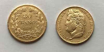 * * * Belle 20 Francs OR Louis Philippe 1839 A * * *