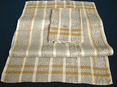 2x old linen Towels / Runners ecru coloured floral pattern with yellow/white