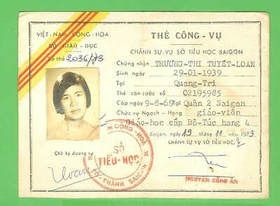 South Viet Nam 1973_ The Public Service Card of Department of Education. VN war.