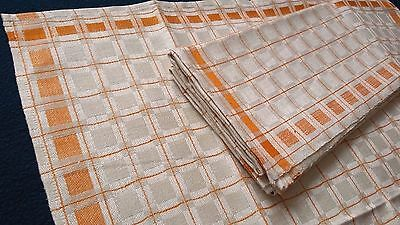 3x old unused linen kitchen Towels / napkins nature coloured with yellow squares