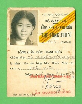 South Viet Nam 1974_ The Public Service Card of Department of Education. VN war.