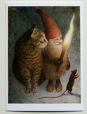 HELJE ArtPostCard  GNOME, CAT and MOUSE Tomte Nisse Santa Sweden  FREE SHIPPING