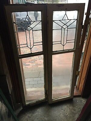 Sg 1033 Match Pair Antique Leaded Glass Cabinet Doors 33 X 54""