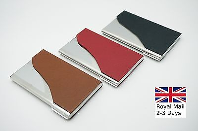 Leather Stainless Steel Pocket Business Credit Card Case Metal Box Holder Wallet