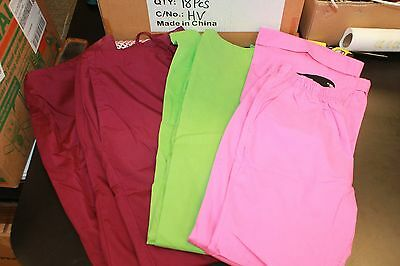 Lot of 3 sets of Scrub Pants Size Small pink striped dickies, lime green & plum
