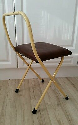 Fab Vintage Triang Folding Childs Seat Retro Metal Kids Chair Stool Mid Century