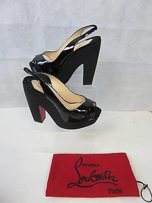 Christian Louboutin Patent Leather Block Heels Size Size Uk 6.5 Eu 39.5
