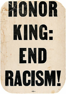 """[Martin Luther KING, Jr. (Activism)]: """"Honor King"""" Placard"""