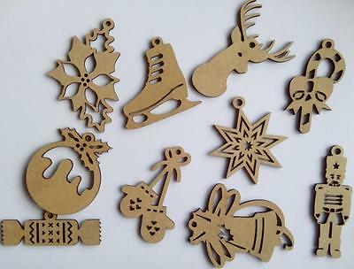 Docrafts CREATE CHRISTMAS 10pk Wooden Shapes ~ Mixed Icons