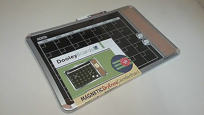 BRAND NEW 11x17in DooleyBoards Metallic-Framed Magnetic Black 1 Month Calendar