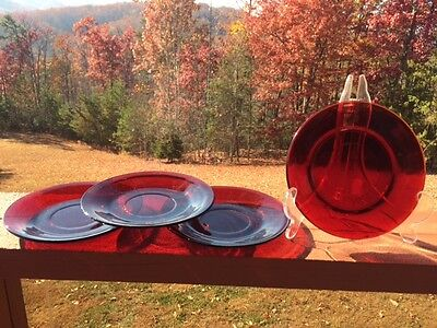 """(4) Vintage Clear Ruby Red 6"""" Saucers Plates"""