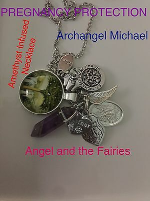 00076 Archangel Michael PREGNANCY PROTECTION Amethyst Infused Pendulum Necklace™