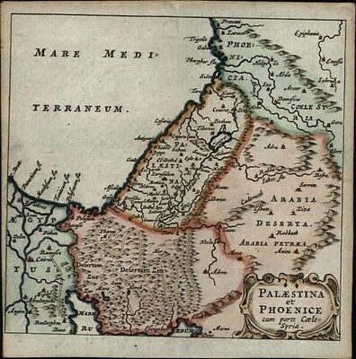 Holy Land ancient Palestine Phoenicia 1686 Wetstein rare antique miniature map
