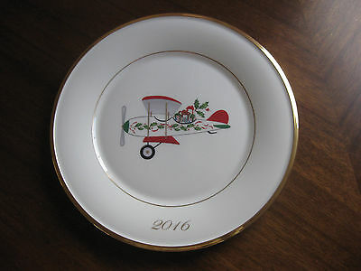 2016 Lenox Sold Out Annual Holiday Accent Plate Airplane 6th in the series NEW