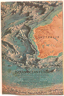 Vintage 1967 National Geographic Map of Indian Ocean Floor