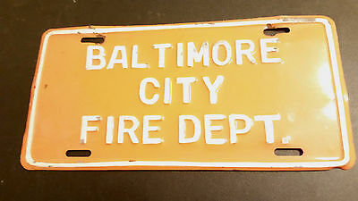 Baltimore, Md City Fire Department License Plate