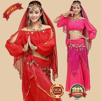 Carnival party dress Belly Dance Top & Pants Bollywood Harem Dancing Costume AU