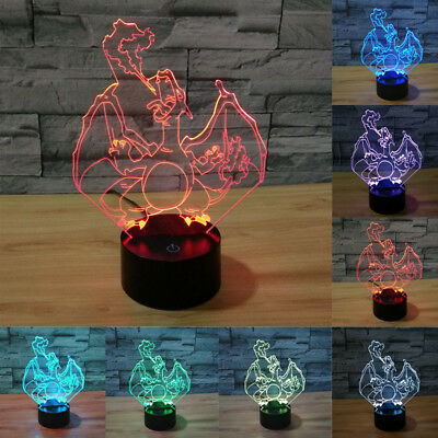 pokemon go 3D Charizard LED Night Light Touch Switch Table Desk Lamp 7 Color HOT