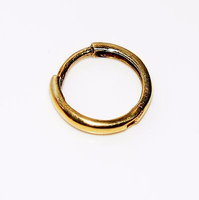 Men's Small 9ct Yellow Gold Single Hinged Sleeper Hoop Earring Gents
