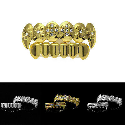 Hot Sales Bling Fangs Hip Hop Mouth Teeth Grills Top & Bottom Grillz Set Jewelry