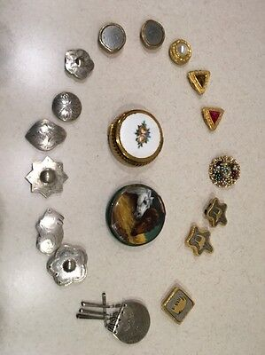 Button Covers Lot of 16 plus a pin and 2 small compacts See Pictures