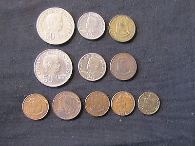 Lot of 11 Philippines Centavos Coins - 1958 1, 1958 5, 1960 1, 1962 1, 1963 5