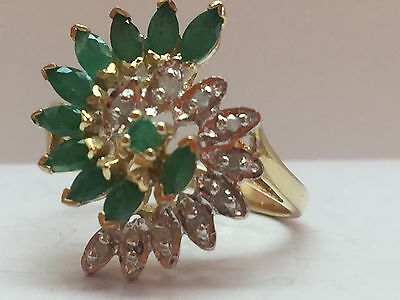 1 ct natural (REAL) DIAMOND + emerald ladies cluster ring SOLID Yellow GOLD