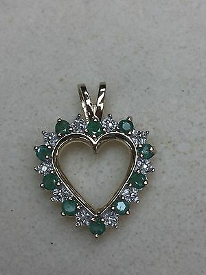 NATURAL (REAL) DIAMOND + emerald pendant solid  yellow gold