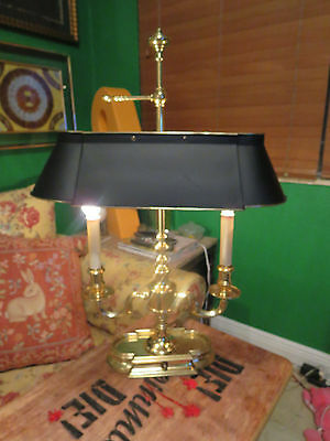 Vintage Frederick Cooper Bouillotte Style Brass Lamp With Tole Shade