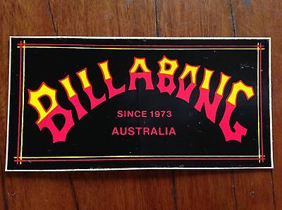 NOS 80s Vintage Billabong Australia Day Glo Yellow & Retro Red Surf Sticker