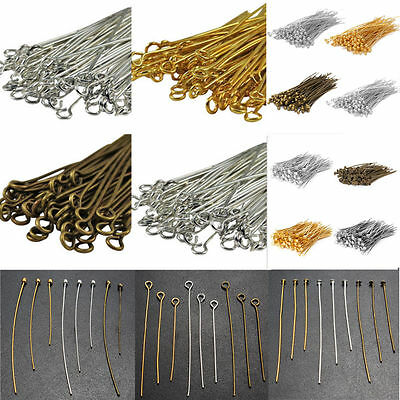 New 100pcs Silver Golden Head/Eye/Ball Pins Finding 21 Gauge any size to choose