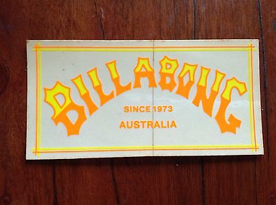 NOS 80s Vintage Billabong Australia Day Glo Yellow & Orange Surf Sticker Decal