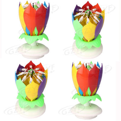 4Pcs Magic Lotus Flower Birthday Party Spin Music Candle with 14 Small Candles
