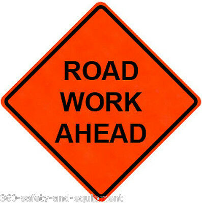 """Road Work Ahead 36"""" X 36"""" Vinyl Fluorescent Roll Up Sign With Ribs"""