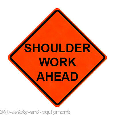 """Shoulder Work Ahead 48"""" X 48"""" Vinyl Fluorescent Roll Up Sign With Ribs"""