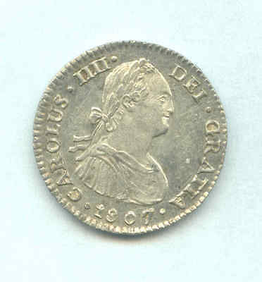 Mexico, Colonial 1807Mo Carolus IIII One Real Silver Coin- Excelent Details+++++