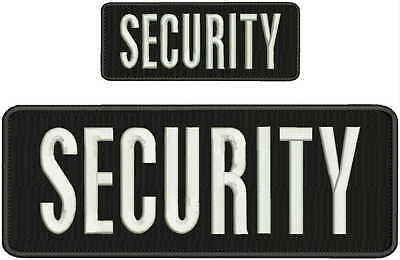 Security embroidery patch 4X10 and 2.x5 hook white letters