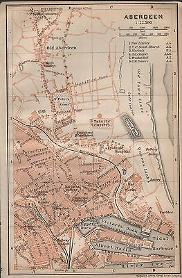 1910 Baedeker Antique Map- Uk-Town Plan, Aberdeen