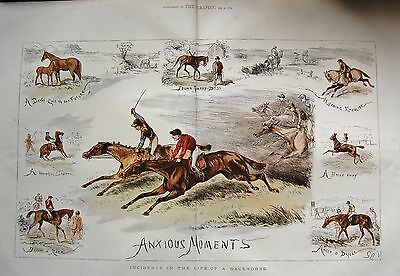 1875 Antique Print- Incidents In The Life Of A Racehorse, Anxious Moments,colour