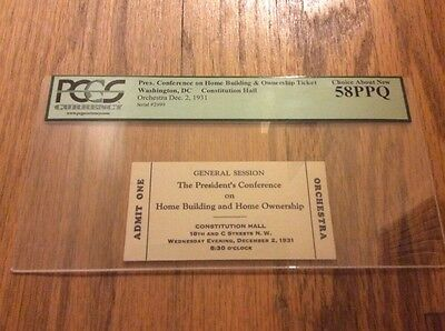 1931 PRESIDENT HERBERT HOOVER Conference on Home Building & Ownership Pass PCGS