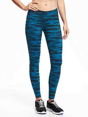 NWT Old Navy Go-Dry Mid-Rise Printed Compression Leggings Women Teal Camo sz:XL