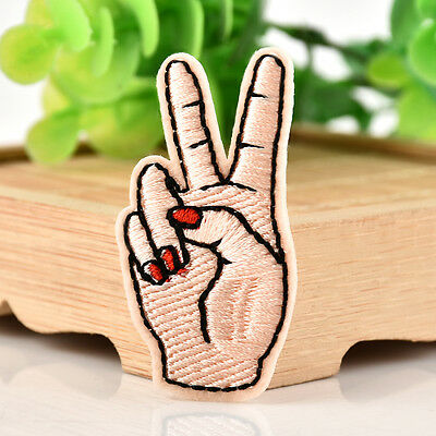 Peace Sign Hand Iron On Patch DIY Sewing On Embroidered Applique Stickers New