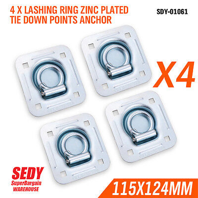4x Lashing Ring Zinc Plated Tie Down Points Anchor UTE Trailer 115 X 124mm 01061