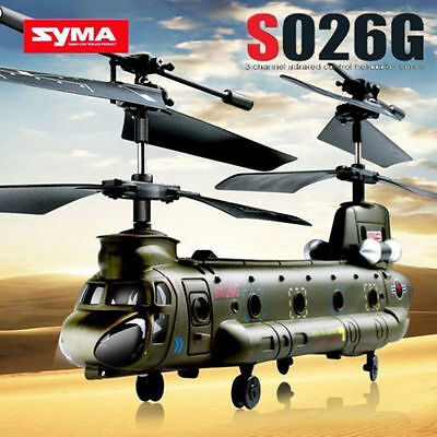 SYMA S026G 3 Channel Remote Control Airplane RC Army Helicopter GYRO Aircraft